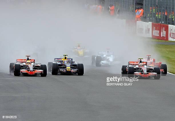 McLaren Mercedes' British driver Lewis Hamilton Red Bull's Australian driver Mark Webber McLaren Mercedes' Finnish driver Heikki Kovalainen and...
