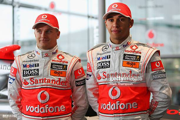 Mclaren Mercedes drivers Heikki Kovalainen of Finland and Lewis Hamilton of Great Britain attend the unveiling of the McLaren Mercedes MP4-24 at the...