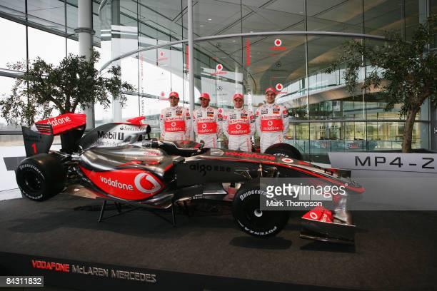 Mclaren Mercedes drivers Pedro de la Rosa of Spain, Heikki Kovalainen of Finland, Lewis Hamilton of Great Britain and Gary Paffet of Great Britain...