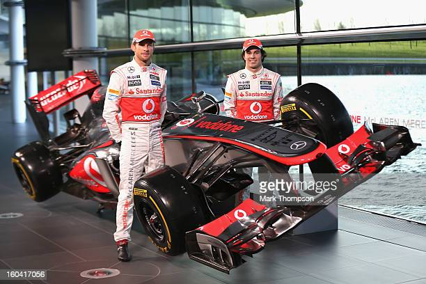 McLaren Mercedes Formula 1 drivers Jenson Button of Great Britain and Sergio Perez of Mexico unveil the Mercedes McLaren MP428 at the McLaren...