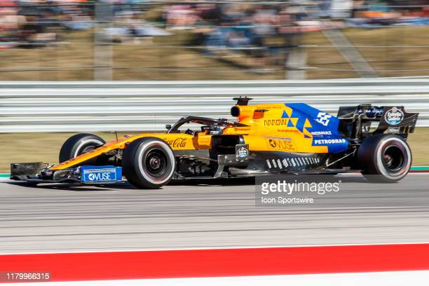 McLaren Renault driver Carlos Sainz of Spain at turn 19 during the the F1 United States Grand Prix held November 3 at the Circuit of the Americas in...