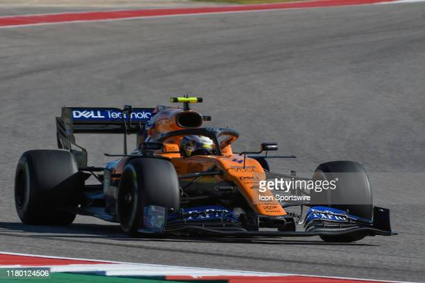 McLaren Renault driver Lando Norris of Great Britain makes his way to turn 15 during the F1 US Grand Prix race at Circuit of The Americas on November...