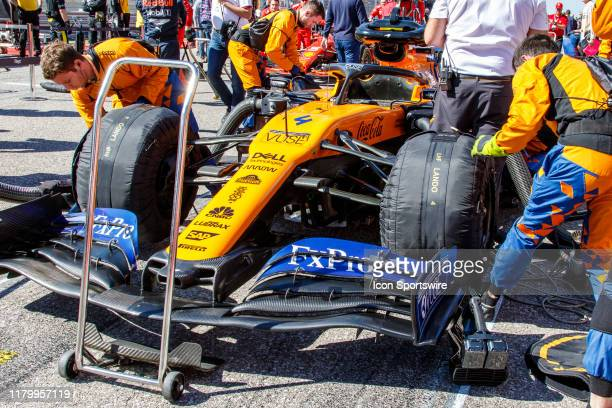McLaren Renault driver Lando Norris of Great Britain's car on the grid prior to the F1 United States Grand Prix held November 3 at the Circuit of the...