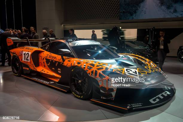 McLaren Senna GTR is displayed at the 88th Geneva International Motor Show on March 6 2018 in Geneva Switzerland Global automakers are converging on...