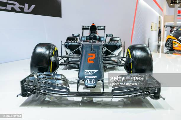 McLarenHonda MP431 2016 Formula 1 Grand Prix race car on display at Brussels Expo on January 13 2017 in Brussels Belgium The McLaren MP431 was...