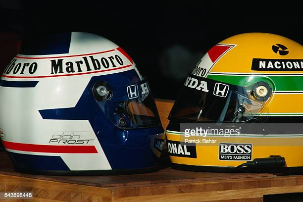 McLarenHonda teammate helmets belonging to Alain Prost and Ayrton Senna during the Spanish Grand Prix