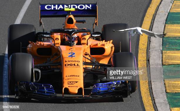McLaren's Belgian driver Stoffel Vandoorne drives around the Albert Park circuit during the second Formula One practice session in Melbourne on March...
