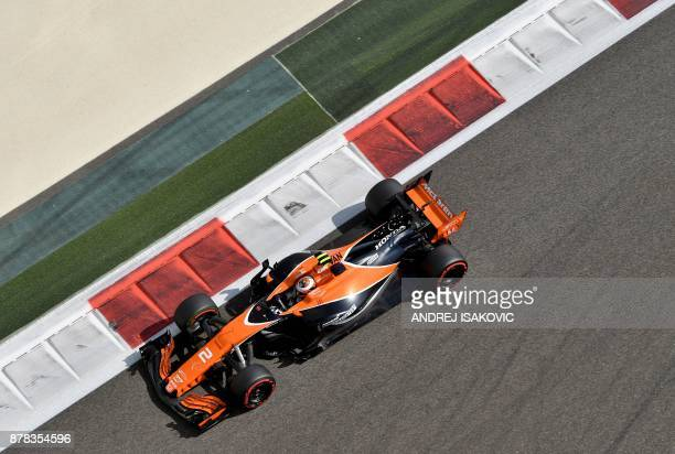 McLarens Belgian driver Stoffel Vandoorne drives during the first practice session ahead of the Abu Dhabi Formula One Grand Prix at the Yas Marina...