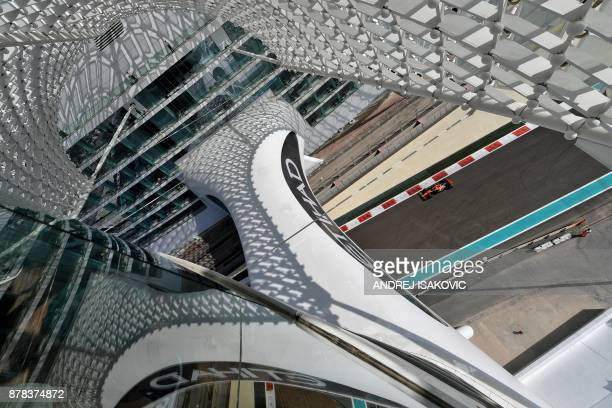 McLarens Belgian driver Stoffel Vandoorne drives his car during the first practice session ahead of the Abu Dhabi Formula One Grand Prix at the Yas...