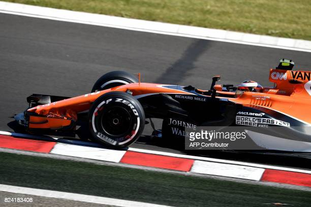 McLaren's Belgian driver Stoffel Vandoorne races during a free practice session at the Hungaroring racing circuit in Budapest on July 29 2017 prior...