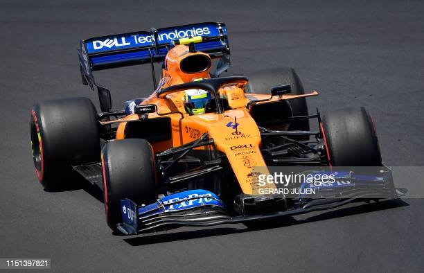 McLaren's British driver Lando Norris drives during the third practice session at the Circuit Paul Ricard in Le Castellet southern France on June 22...