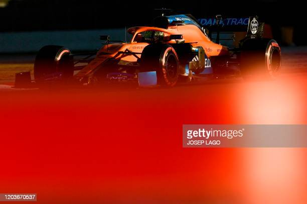 McLaren's British driver Lando Norris takes part in the tests for the new Formula One Grand Prix season at the Circuit de Catalunya in Montmelo in...