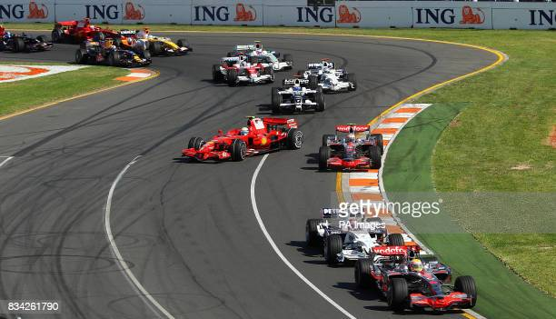 Mclaren's Lewis Hamilton leads from pole position after the first corner during the Formula One Australian Grand Prix at Albert Park Melbourne...