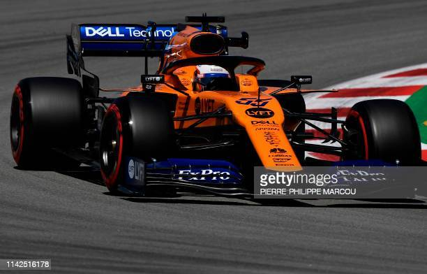 McLaren's Spanish driver Carlos Sainz Jr drives during the first practice session at the Circuit de Catalunya on May 10 2019 in Montmelo on the...