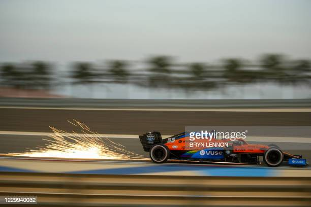 McLaren's Spanish driver Carlos Sainz Jr drives during the first practice session ahead of the Sakhir Formula One Grand Prix at the Bahrain...