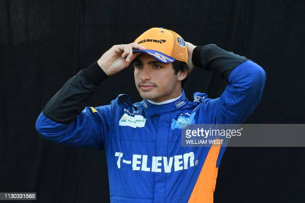 McLaren's Spanish driver Carlos Sainz Jr poses for a photo in Melbourne on March 14 ahead of the Formula One Australian Grand Prix