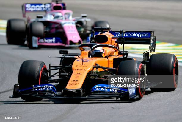 McLaren's Spanish driver Carlos Sainz Jr powers his car during the F1 Brazil Grand Prix at the Interlagos racetrack in Sao Paulo Brazil on November...
