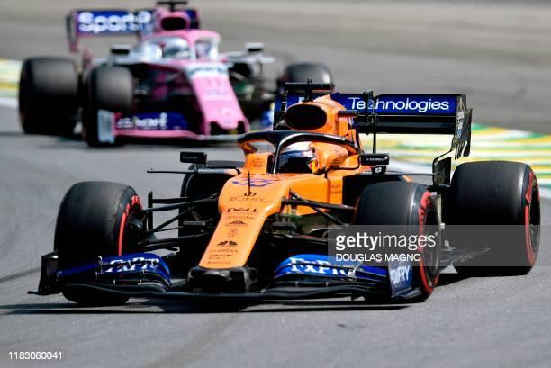 McLaren's Spanish driver Carlos Sainz Jr powers his car during the F1 Brazil Grand Prix, at the Interlagos racetrack in Sao Paulo, Brazil on November...