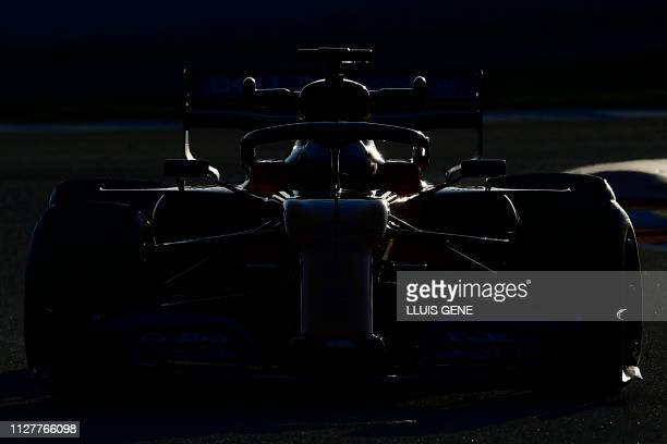 McLaren's Spanish driver Carlos Sainz Jr takes part in the tests for the new Formula One Grand Prix season at the Circuit de Catalunya in Montmelo in...