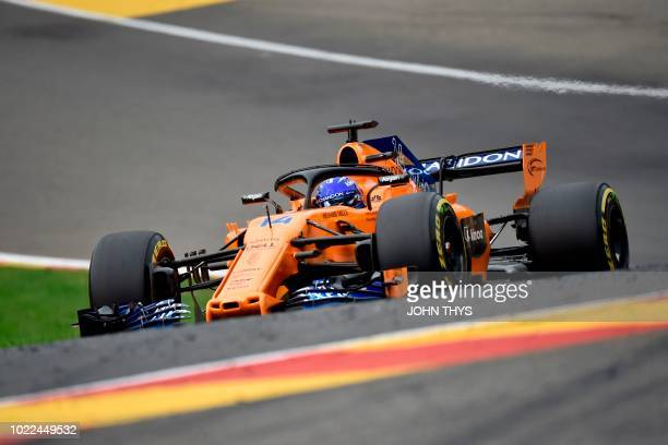 McLaren's Spanish driver Fernando Alonso drives during the second practice session at the SpaFrancorchamps circuit in Spa on August 24 2018 ahead of...