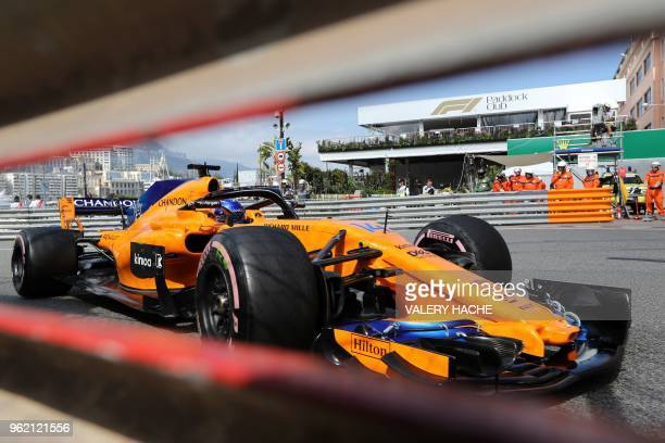 McLaren's Spanish driver Fernando Alonso drives during the second practice session at the Monaco street circuit on May 24, 2018 in Monaco, ahead of...