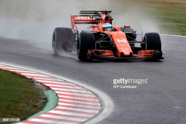 McLaren's Spanish driver Fernando Alonso drives during the second practice session of the Formula One Japanese Grand Prix at Suzuka on October 6 2017...