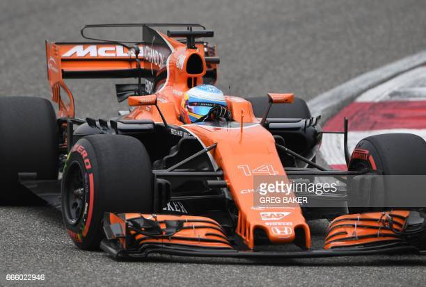 McLaren's Spanish driver Fernando Alonso takes a corner during a practice session for the Formula One Chinese Grand Prix in Shanghai on April 8 2017...