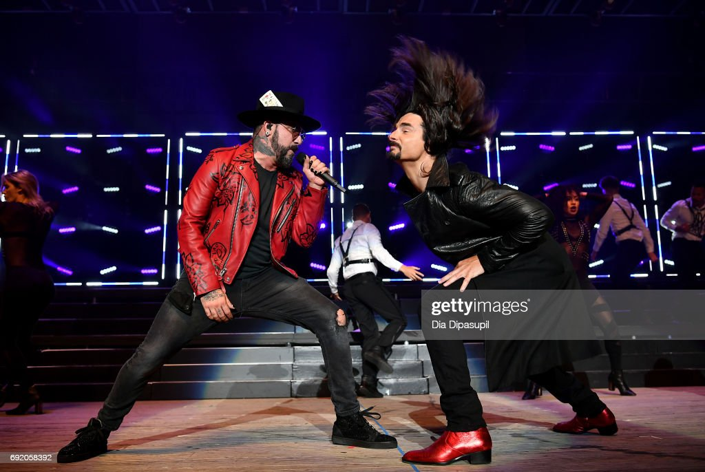 AJ McLean and Kevin Richardson of Backstreet Boys perform onstage during 103.5 KTU's KTUphoria 2017 presented by AT&T at Northwell Health at Jones Beach Theater on June 3, 2017 in Wantagh, New York.
