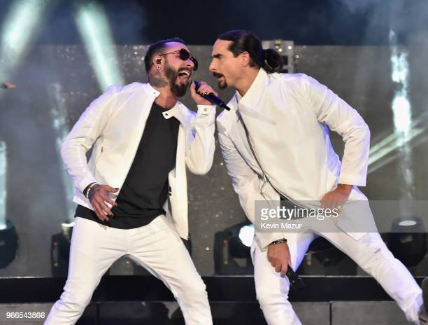 AJ McLean and Kevin Richardson of music group Backstreet Boys perform onstage during the 2018 iHeartRadio Wango Tango by ATT at Banc of California...