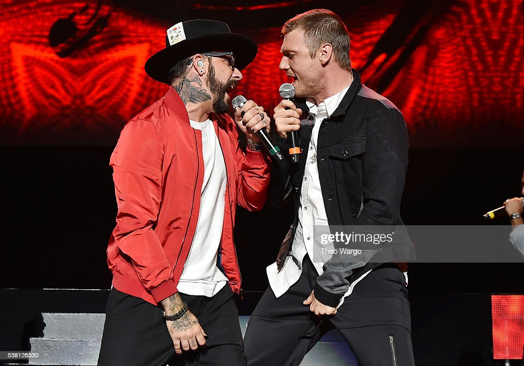 A. J. McLean (L) and Nick Carter of The Backstreet Boys perform onstage during 103.5 KTU's KTUphoria 2016 presented by Aruba, at Nikon at Jones Beach Theater on June 4, 2016 in Wantagh, NY.