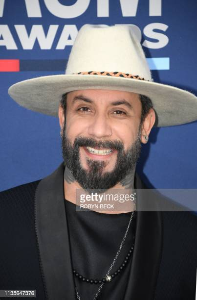 AJ McLean arrives for the 54th Academy of Country Music Awards on April 7 2019 in Las Vegas Nevada