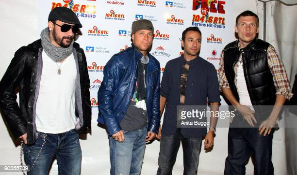 """Mclean, Brian Littrell, Howie Dorough and Nick Carter of the Backstreet Boys pose for the press prior to their show during the """"Stars for free""""..."""