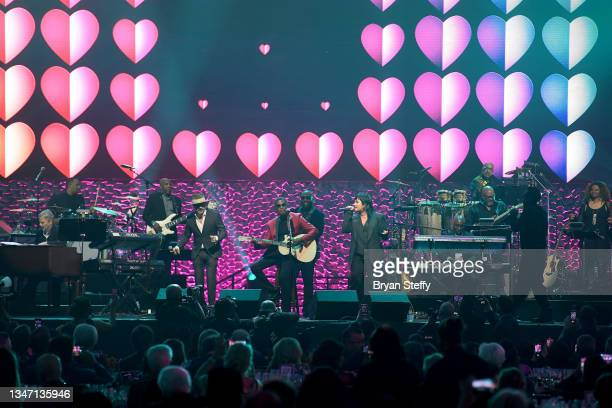 McLean, Kenny 'Babyface' Edmonds and Demi Lovato perform onstage during the 25th annual Keep Memory Alive 'Power of Love Gala' benefit for the...
