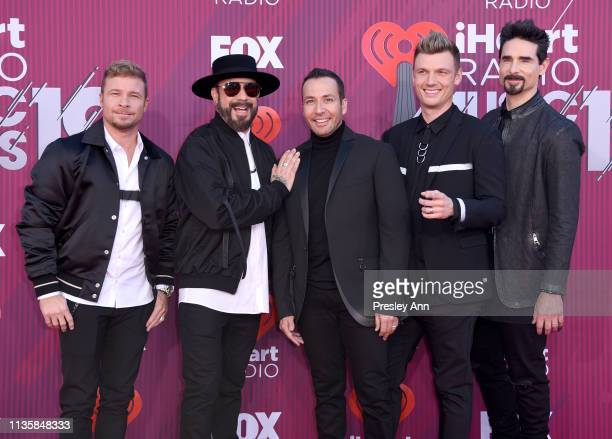 McLean Kevin Richardson Nick Carter Howie Dorough and Brian Littrell of Backstreet Boys attends the 2019 iHeartRadio Music Awards which broadcasted...