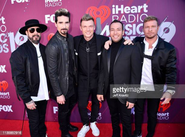 AJ McLean Kevin Richardson Nick Carter Howie Dorough and Brian Littrell of Backstreet Boys attend the 2019 iHeartRadio Music Awards which broadcasted...