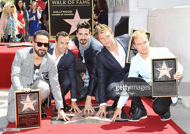 McLean Nick Carter Brian Littrell Howie Dorough and Kevin Richardson of Backstreet Boys attend the ceremony honoring them with a Star on The...