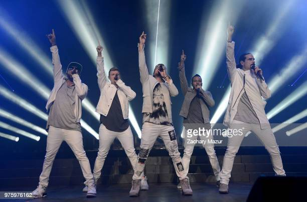 AJ McLean Nick Carter Brian Littrell Howie Dorough and Kevin Richardson of The Backstreet Boys perform onstage during 2018 BLI Summer Jam at...