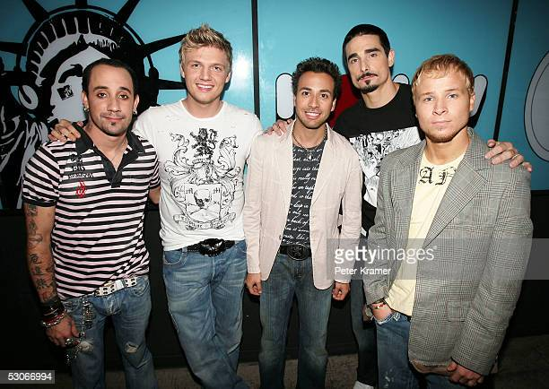 AJ McLean Nick Carter Howie Dorough Kevin Richardson and Brian Littell of The Backstreet Boys make an appearance on MTV's Total Request Live on June...