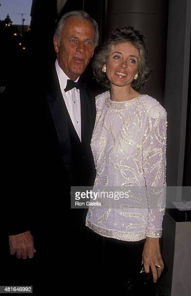 McLean Stevenson and Ginny Fosdick attend Ambassador's Hotel on May 4 1990 at the Beverly Wilshire Hotel in Beverly Hills California