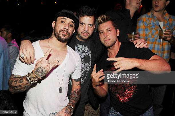 AJ McLean Tommy Lipnick and Lance Bass attend Sasha Grey's 21st birthday at Tao Las Vegas on March 14 2009 in Las Vegas Nevada