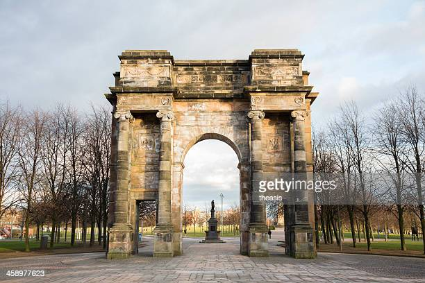mclennan arch on glasgow green - theasis stock pictures, royalty-free photos & images