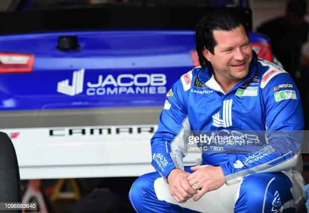 McLeod driver of the Jacob Companies Chevrolet sits in the garage area during practice for the Monster Energy NASCAR Cup Series 61st Annual Daytona...