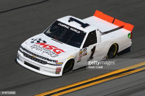 McLeod driver of the Motorsports Safety Group Chevrolet practices for the NASCAR Camping World Truck Series NextEra Energy Resources 250 at Daytona...