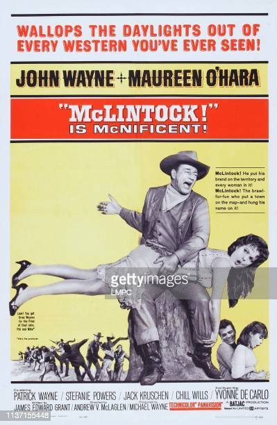 Mclintock poster US poster art John Wayne Maureen O'Hara Patrick Wayne Stefanie Powers 1963