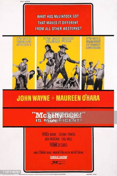 Mclintock poster US poster art left and center insets John Wayne Maureen O'Hara right inset John Wayne Stefanie Powers Patrick Wayne 1963