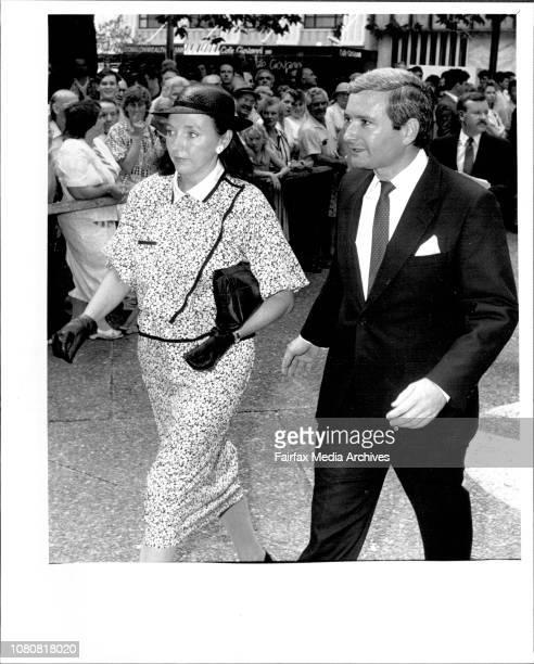 McMahon memorial service at St AndrewsPremier Nick Greiner arrives with his wife Katherine April 08 1988