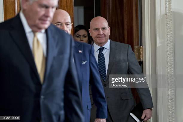 HR McMaster national security advisor arrives to a news conference with US President Donald Trump and Stefan Lofven Sweden's prime minister not...