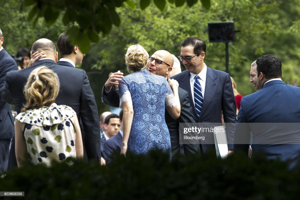H.R. McMaster, national security advisor, center right, hugs Ivanka Trump, assistant to U.S. President Donald Trump, center left, before the start of a joint press conference with Trump and Saad Hariri, Lebanon's prime minister, not pictured, in the Rose Garden of the White House in Washington, D.C., U.S., on Tuesday, July 25, 2017. Trump said he's disappointed with Attorney General Jeff Sessions for recusing himself from investigations of Russian interference in the 2016 election, and that 'time will tell' if the nation's top law enforcement officer remains in his job. Photographer: Zach Gibson/Bloomberg via Getty Images
