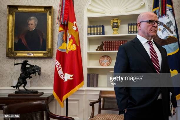 R McMaster national security advisor listens as US President Donald Trump meets with North Korean defectors in the Oval Office of the White House on...