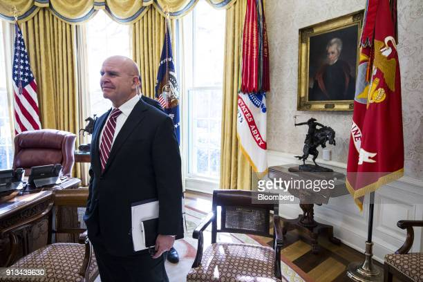 HR McMaster national security advisor listens as US President Donald Trump not pictured speaks during a meeting with North Korean defectors in the...